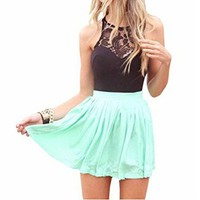 Women Lace Chiffon Sleeveless Top Short Party Mini Dress