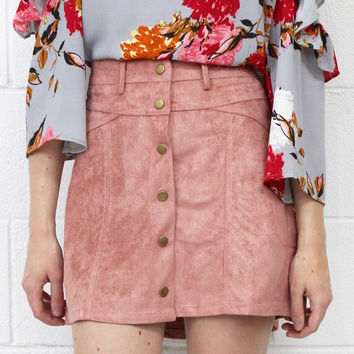 Faux Suede Button Down Mini Skirt {Dusty Rose}