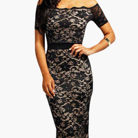 Black Off Shoulder High-Waisted Floral Lace Bodycon Midi Skirt