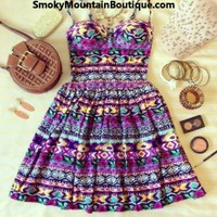 Aztec Multi Color Bustier Dress with Adjustable Straps - Size XS/S/M - Smoky Mountain Boutique