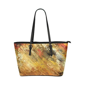 Tote Shoulder Bag with Abstract Rustic Marble Design