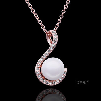 Gold Plated/Silver Pearl Hook Necklace Pendant Jewelry Fashion