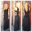 Black Open Side Modal Maxi Dress