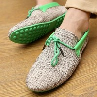 Men Shoes Summer Breathable Fashion Weaving Casual Shoes Soft Lace-up Comfort Men's Loafers Driving Mocassins