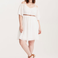 Chiffon Cold Shoulder Skater Dress