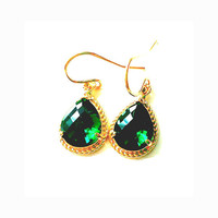 Green, Emerald, Earrings, Emerald, Simple, Beautiful, Cute, Earrings, Drop, Earrings, Modern, Simple, Green, Earrings, Gold Filled, Earrings