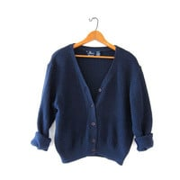 vintage navy blue sweater. textured cardigan sweater. cropped cardigan sweater.