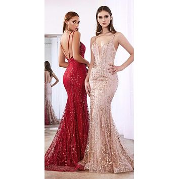 Floor Length Fitted Evening Gown Rose Gold Glitter Print Sweetheart Neckline