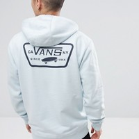 Vans Full Patched Hoodie With Back Print In Blue VA2WF7689 at asos.com