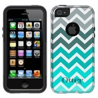 Otterbox Commuter Chevron Grey Green Turquoise Case for iPhone 5