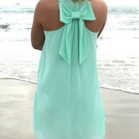 Green Bowknot Sleeveless Chiffon Mini Dress