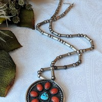Vintage Native American Navajo Sterling Silver Turquoise Coral Pin/Pendant Necklace