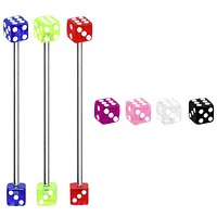 316L Industrial Barbell with UV Acrylic Dice