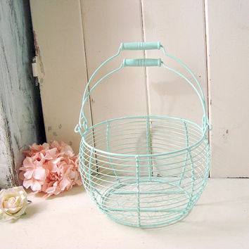 Mint Wire Egg Basket, Large Egg Basket with Handles, Shabby Chic Metal Basket, Wire Basket, Easter Egg Basket, Cottage Chic Fruit Basket