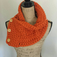 Crocheted Wrap Around Chunky Neck Warmer with Coconut Wood Buttons Wool Acrylic Blend – Orange