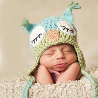 Handmade Cute Newborn Baby Unisex Crochet Knit owl beanie Hat in green and blue christmas baby pography props baby caps
