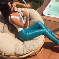 Leather Pants 2017 Real Skinny Faux Leather Fashion Pantalones Mujer Pants Spring New Women's Feet Plus Pu Leggings Solid Color