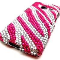 $9.95 Pink and Silver zebra diamond bling case FOR HUAWEI ASCEND Q