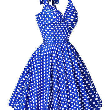 2016 Summer Party Swing Dresses Women Rockabilly 50s 60s Dress Audrey Hepburn Vestidos Polka Dots Retro Vintage Dress Plus Size