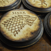 Game of Thrones Coaster Set, Handmade, Wood Burning, Laser Etched