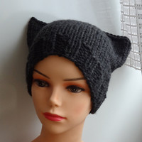 Cat Ears Hat Cat Beanie Chunky Knit Winter Accessories Animals Hat  cat ears hat dark graphite charcoal gray
