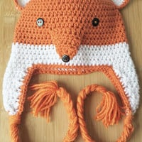 Crochet Fox photo prop Hat - Fox Beanie - Fox Crochet hat - girls or boys Fox Beanie - Toddler Fox Hat - Adult Fox hat - Crochet Fox Beanie