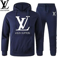 LV Louis Vuitton Classic hot sale printed letter logo hooded sweatshirt trousers two-piece suit