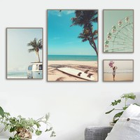 Girl Palm Tree Ferris Wheel Surfboard Sea Wall Art Canvas Painting Nordic Posters And Prints Wall Pictures For Living Room Decor