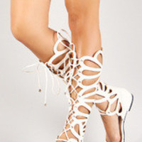 Women's Breckelle Leatherette Lace Up Gladiator Flat Sandal