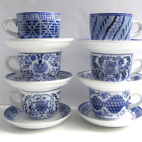 Vintage Large Blue White China Soup Mugs and Sandwich Plates