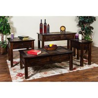 Sunny Designs Santa Fe Collection Four Piece Living Room Table Set In Dark Chocolate 3143
