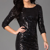 Short Sequin Dress with 3/4 Length Sleeves by As U Wish