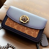 COACH New fashion pattern print leather chain shoulder bag crossbody bag