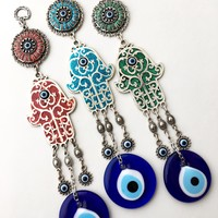 Hamsa wall art, evil eye wall hanging, nazar boncuk, evil eye wall decor, hamsa wall hanging