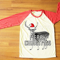 Merry Christmas TShirt Reindeer TShirt Animal Shirt Christmas Shirt Red Sleeve Shirt Women Shirt Men Shirt Unisex Shirt Baseball Shirt S,M,L