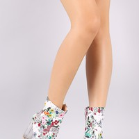 Spring Garden Print Chunky Clear Heeled Booties