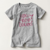 You Are Loved Pink Typography Baby Romper