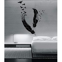 Wall Sticker Birds Flying of Feather Beautiful  Decor for your Bedroom Unique Gift (z1379)