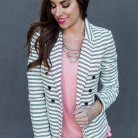 WEB EXCLUSIVE: One and Only Striped Blazer in White/Black