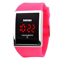 GOHUOS Unisex Touch Screen Digital LED Big Dial Waterproof Mens Womens Sport Casual Wrist Watches-Rose Red