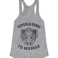 Upgrading To Muscle-Female Athletic Grey T-Shirt