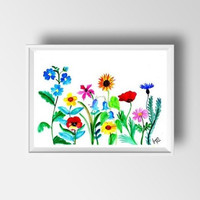 Spring wild flowers watercolor painting wall art print poster decor flower nursery print floral poster large small illustration colorful