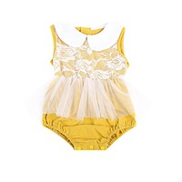 Lovely Infant Baby Girls Tulle Lace Romper Sleeveless Peter Pan collar Jumpsuit Outfits Sun-suit Clothes