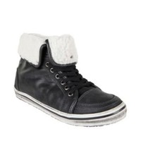 SNOWMASS BLACK LEATHER men's athletic oxford hightop - Steve Madden