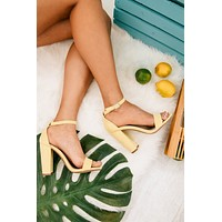 Must Confess Faux Suede Heels (Yellow)