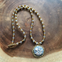 Gold and Grey Floral Pendant, Gold and Clear Necklace, Floral Pendant, Beaded Necklace, Womens Necklace, Mothers Day Gift