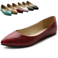ollio Womens Shoes Snakeskin Pointed Toe Multi Colored Ballet Flats