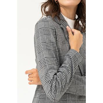 Long Sleeve Flannel Plaid Chequered Boyfriend Blazer Jacket with Pockets