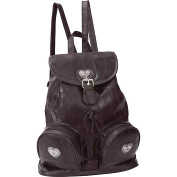 Embassy Italian Stone Design Brown Genuine Leather Backpack Purse