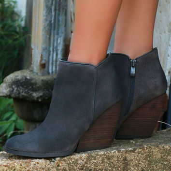 Very Volatile Whitby Abbey Charcoal Suede Wedge Bootie
